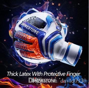 Shine Professionelle Thick Latex Fingerschutz-Fußball-Torhüter glvoes Erwachsene Fußball Torwarthandschuhe