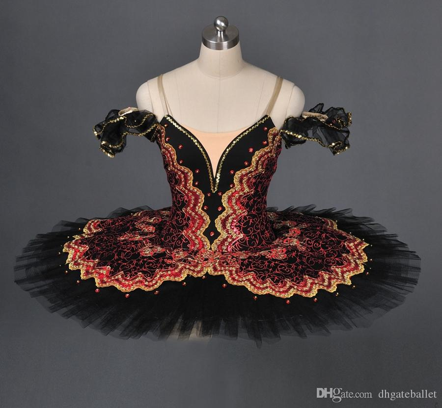 Adult Spanish Burgundy Black Pancake Tutu Women green Professional Ballet Tutu Girls red black Stage Costume Platter for Kids dance wear