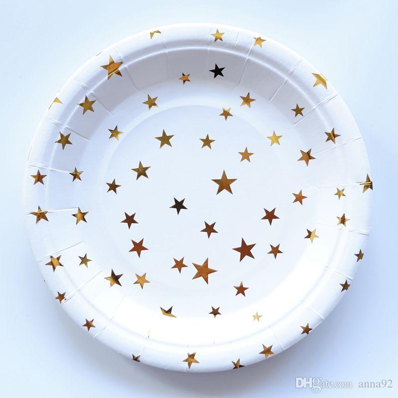 Papel de oro estrella vajilla desechable partido de papel platos tazas bebé ducha favor papel pajas de beber suministros de boda envío gratis venta caliente