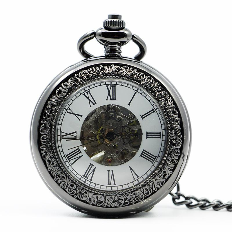 Antique Men Women Hand Wind Mechanical Pocket Watch Roman Number Dial Fob Watch With Pendant Chain