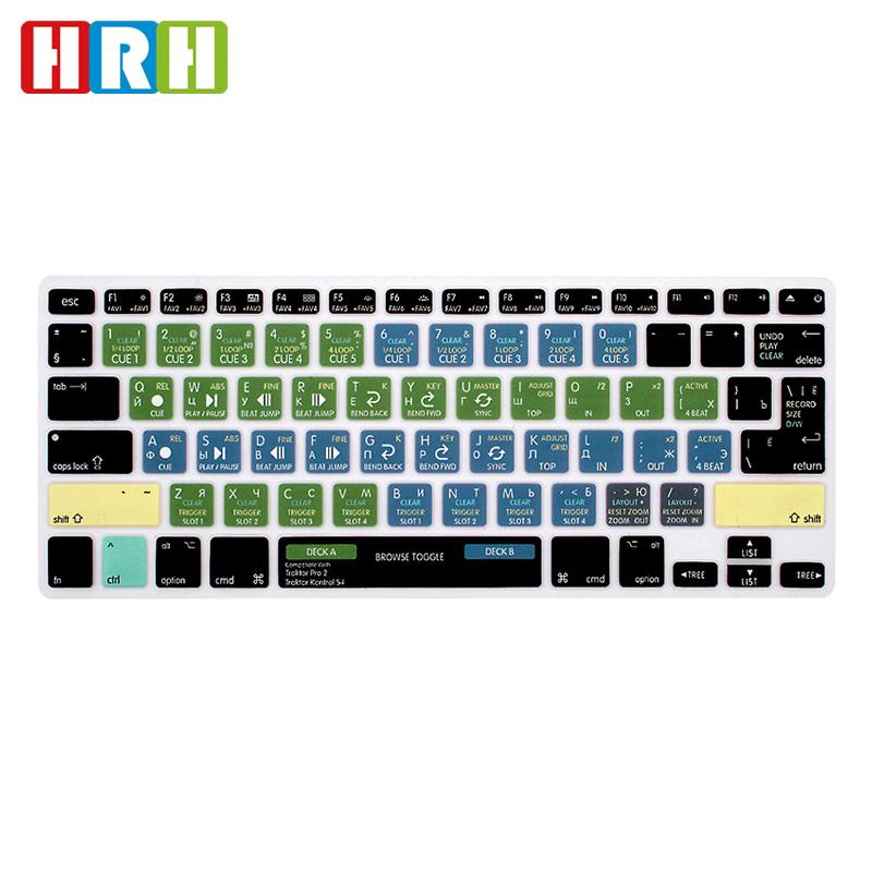 "HRH Traktor Pro 2/Kontrol S4 Shortcuts Hot Key Silicone Keyboard Cover Skin for Air Pro Retina 13"" 15""keyboard Protector"