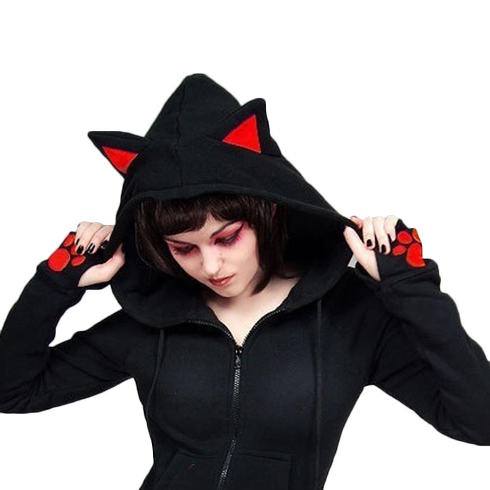 2017 여성 여성 캐주얼 후드 긴 소매 hoody 고양이 귀 인쇄 후드