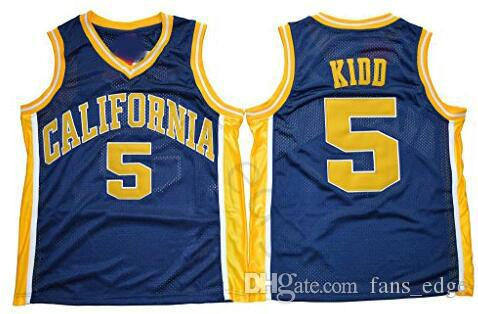 NCAA California Golden Bears College #5 Jason Kidd Basketball Jersey Vintage Navy Blue Stitched Jason Kidd University Jerseys Shirts S-XXXL
