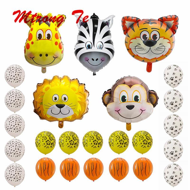 25 adet Tema Jungle Safari Lateks Topları Hayvanlar Kafa Folyo Balonlar Bebek Hediyeleri Doğum Günü Partisi Süslemeleri Maymun Kaplan Aslan Zebra