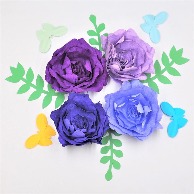 4 pezzi assortiti carta crespa fiore con 4 pezzi foglie 4 pz farfalle matrimonio sfondo bambino vivaio della ragazza floreale nursery decor