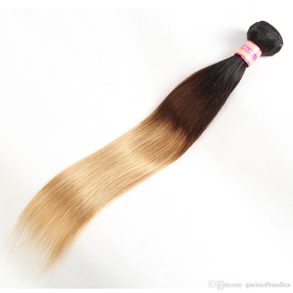 Человеческие волосы связки бразильский ломбер прямые #1B/4/27 и 1b/27# лучшие продажи бразильский девственные волосы ломбер 3 тон ломбер наращивание волос