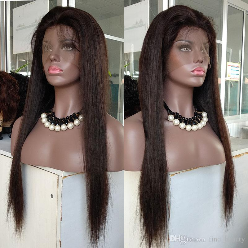 100% Unprocessed Cuticle Human Virgin Hair Silk Straight #2 Color Remy Full Lace Wigs Qingdao FB Hair Lace Front Wig for Sale