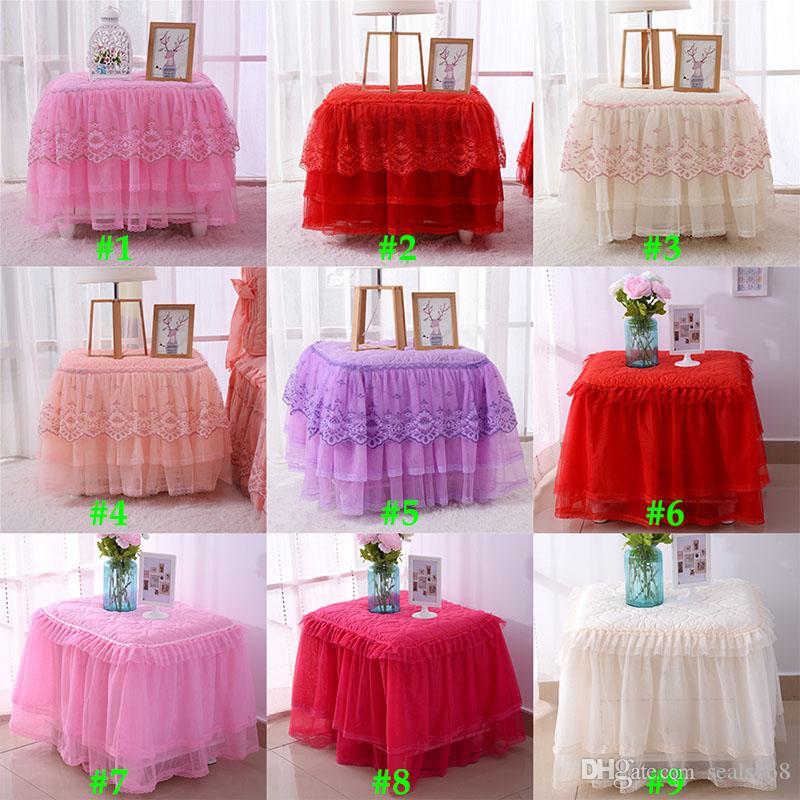 Wedding Party Table Skirt Louça para o aniversário Xmas Halloween Decor Lace mesa de cabeceira Capa Início Têxteis Detalhes no 11 estilo HH7-1508
