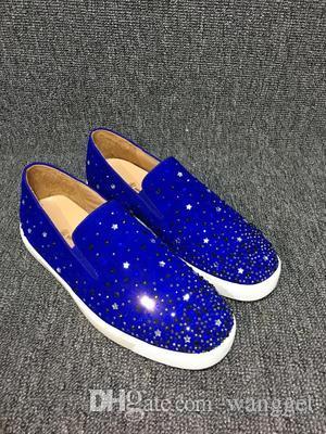 Negro, Azul Gamuza Con + Strass inferior rojo de las zapatillas de deporte de los holgazanes de las mujeres, los hombres que caminan ocasionales Colección de la moda de ocio vestido de novia Partido