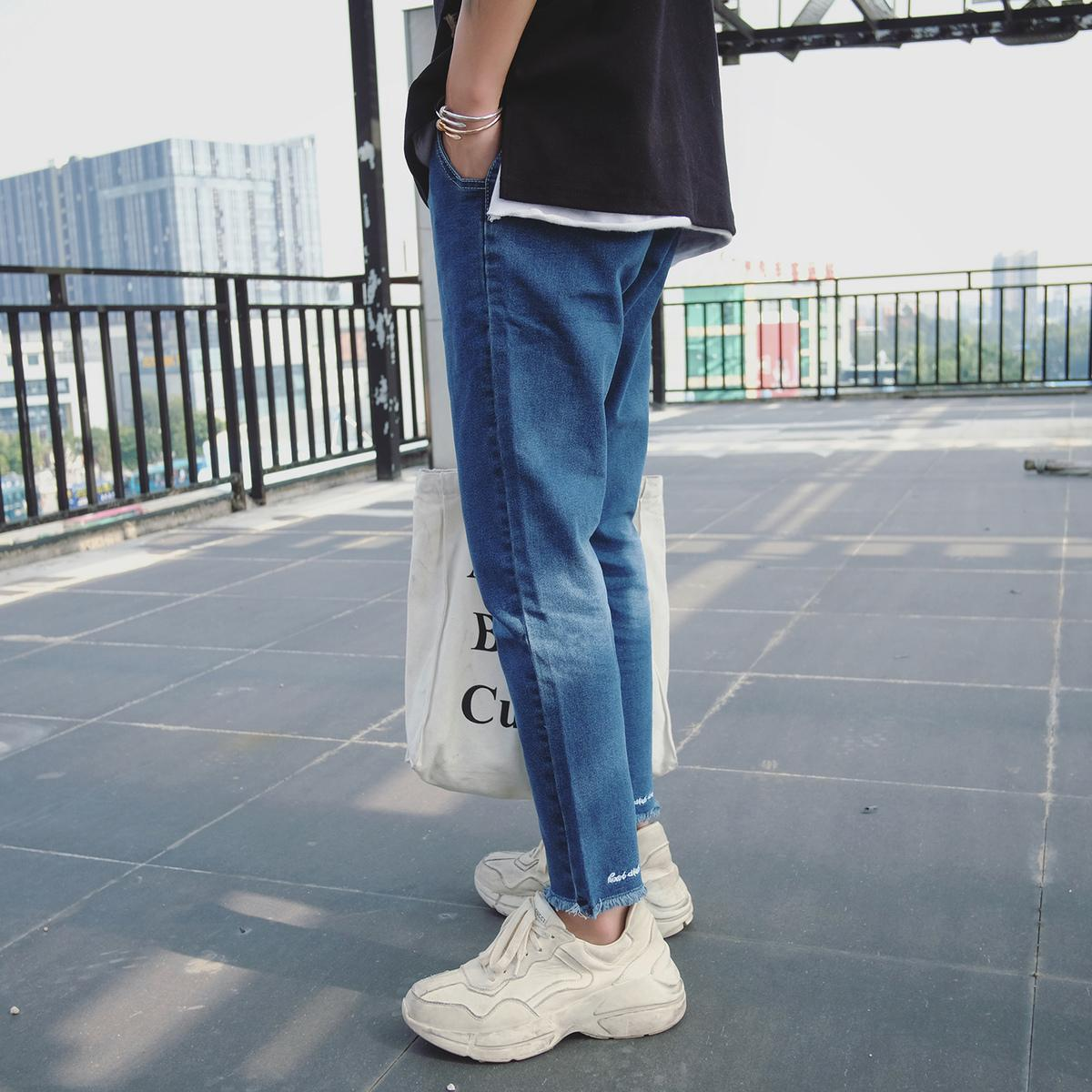 2018 Spring Newest Men's Fashion Classic Jeans Embroidery Skinny Stretch Fit Slim Pants Blue Casual Denim Trousers Size 28-34