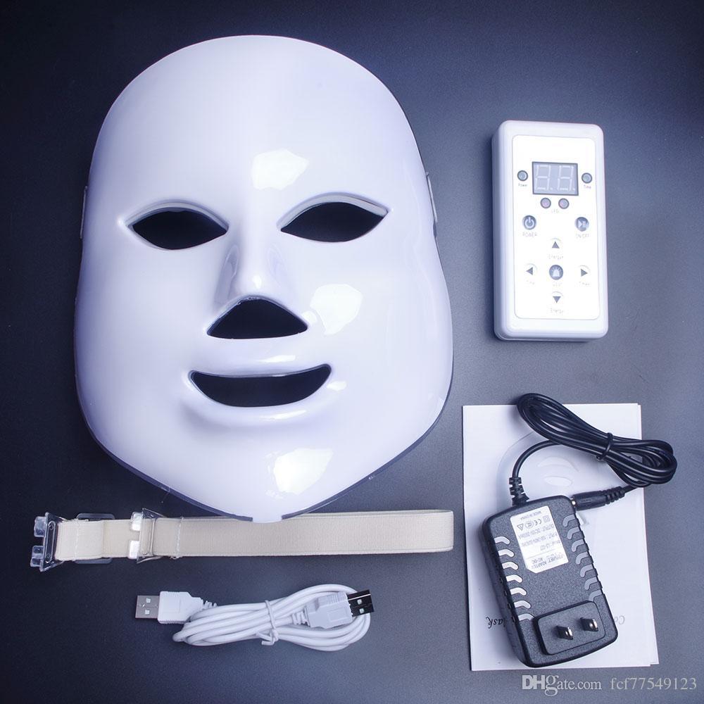 LM003 MOQ 1 piece White or Gold 7 light PDT Photon LED Facial Mask Skin Rejuvenation face beauty photorejuvenation home use