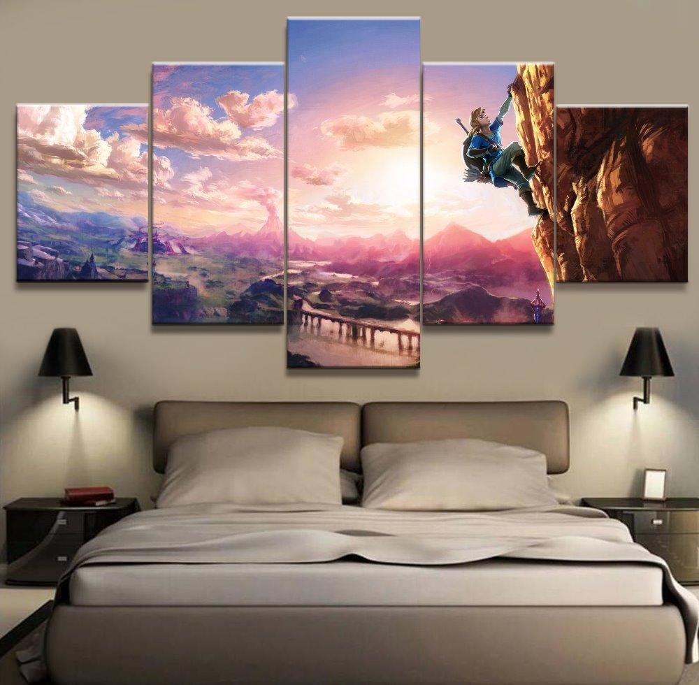 Legend of Zelda Breath of the Wild, 5 pezzi HD Canvas Printing Nuova decorazione della casa Art Painting / (Senza cornice / Incorniciato)