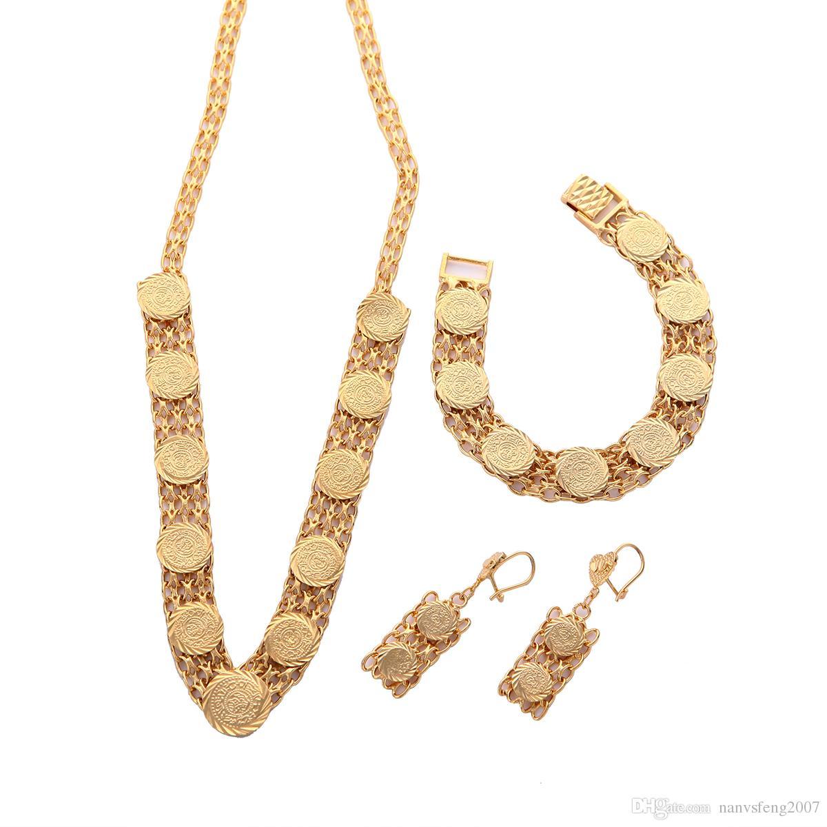 24 Karat Gold überzogene arabische moslemische Münzenohrring-Armband-Halsketten-Sätze für Hochzeitsschmuck