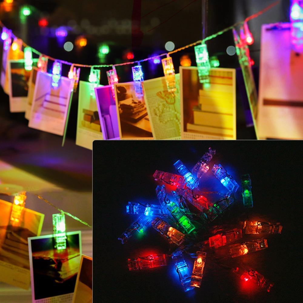 Alimentado por USB cadena de fotos foto clip de tarjeta cadena de luz de hadas guirnalda de navidad 10-30 clips de luz luz fiesta de vacaciones boda