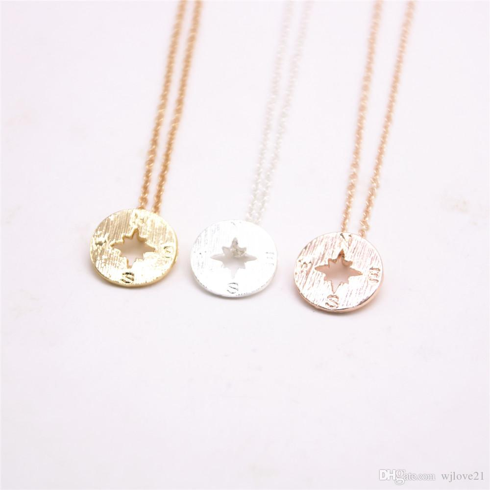 Fashion 18k Gold silver simple Pendant Geometric Plane Shapes necklace compass necklaces-Free Shipping best gift for women