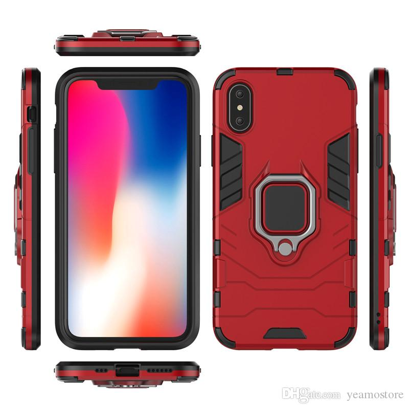 Heavy Duty Armor Hybrid Kickstand Case for iphone X XS XR XS MAX Silicone Shockproof Finger Ring Magnetic Holder Case