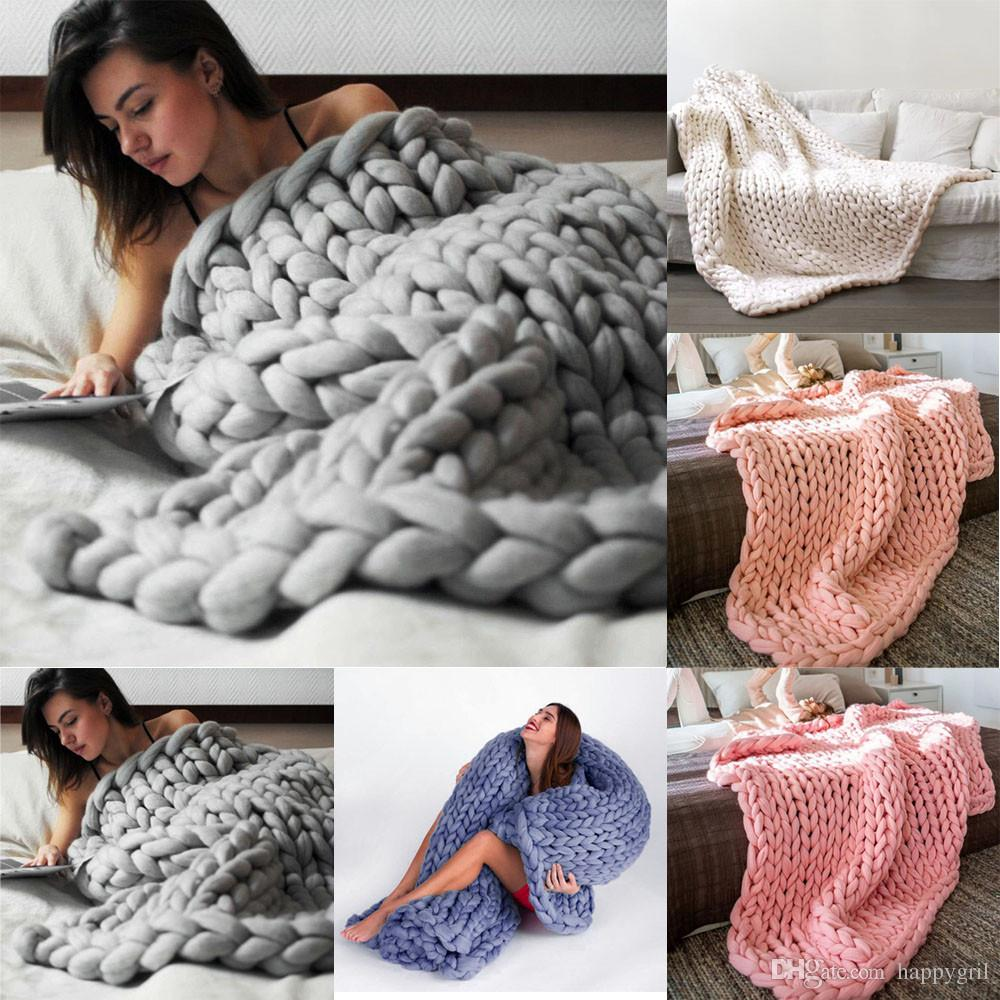 80 * 100 cm línea gruesa suave hilado gigante de punto manta tejer a mano accesorios de fotografía mantas de ganchillo de lino mantas de punto suave