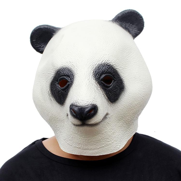 Halloween Costume Prop Adult Latex Party Masks Panda Head Natural Silicone Rubber Cosplay Fancy Dress Animal Full Face Mask