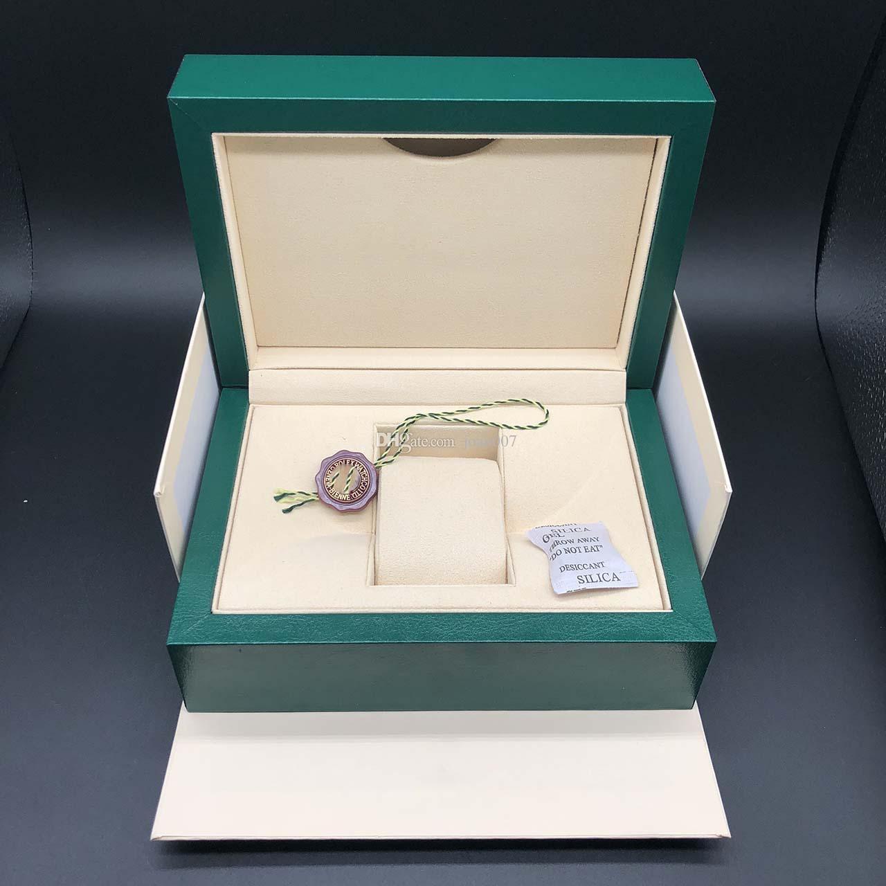 En İyi Kalite Koyu Yeşil İzle Kutusu Hediye Durumda Rolex Saatler Kitapçık Kart Etiketleri ve İngilizce İsviçre Saatler Kutuları Joan007