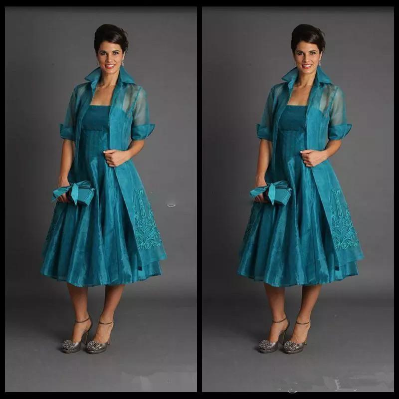 Cheap Organza Plus Size Lace Mother Of The Bride Dresses With Jacket Women  Formal Dresses Tea Length Green Suits Appliques Evening Gowns Mothers Of ...