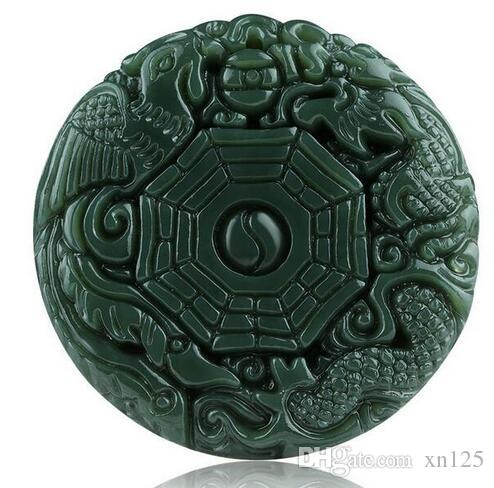 Natural Green Hetian Pendente Jade 3D Intagliato Rotondo BaGua Con Dragon Phoenix Pendenti Donna Uomo Amuleto Nefrite Gioielli Jades