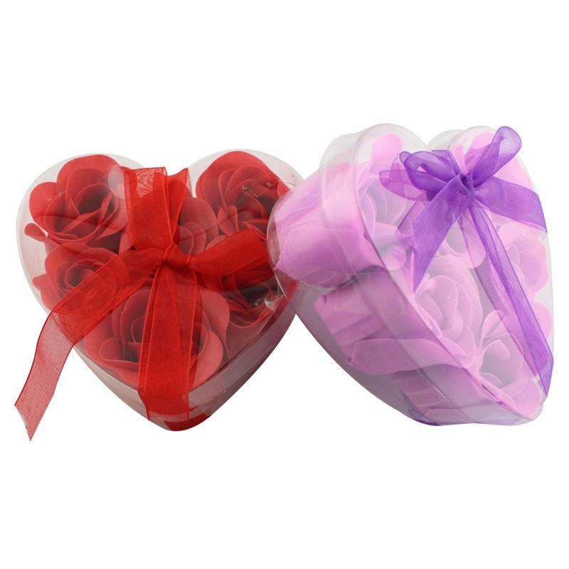 Decorative Flowers Heart-shaped Rose Soap Flower (6pcs/box 10boxes / lot ) For Romantic Bath And Gift