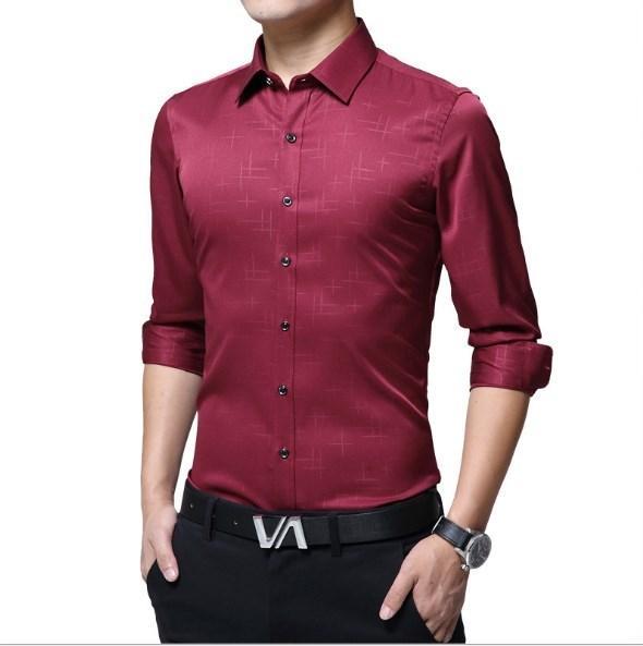 Compre Moda Coreana Para Hombre De Negocios Camisas De Vestir Casual Slim Fit Camisa Rojo Púrpura Azul Chemise Homme Hombres Más Tamaño Ropa 4xl 5xl A