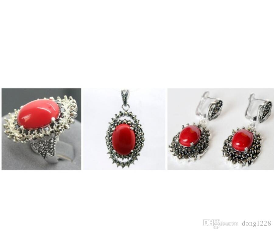 Fashion Red Carved Lacquer Marcasite 925 Sterling Silver floeer Ring(#7-10) Earrings & Pandent jewelry sets