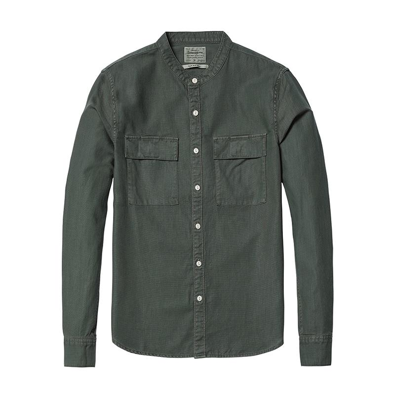 Simwood Casual Gömlek Erkekler 2018 Bahar Yeni Mandarin Yaka Saf Pamuk Slim Fit Artı Boyutu Çift Cep Collarles Giyim