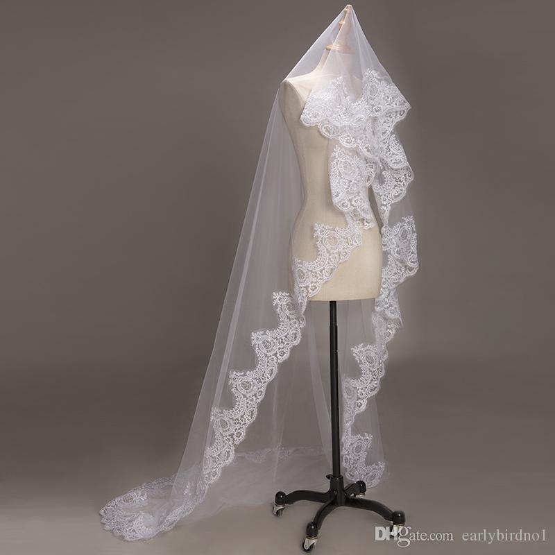 2019 nouveau 3M 1T long blanc / ivoire voiles de mariée de lacets appliques Cathédrale Longueur de mariage de mariage voile sans peigne CPA068 Livraison gratuite