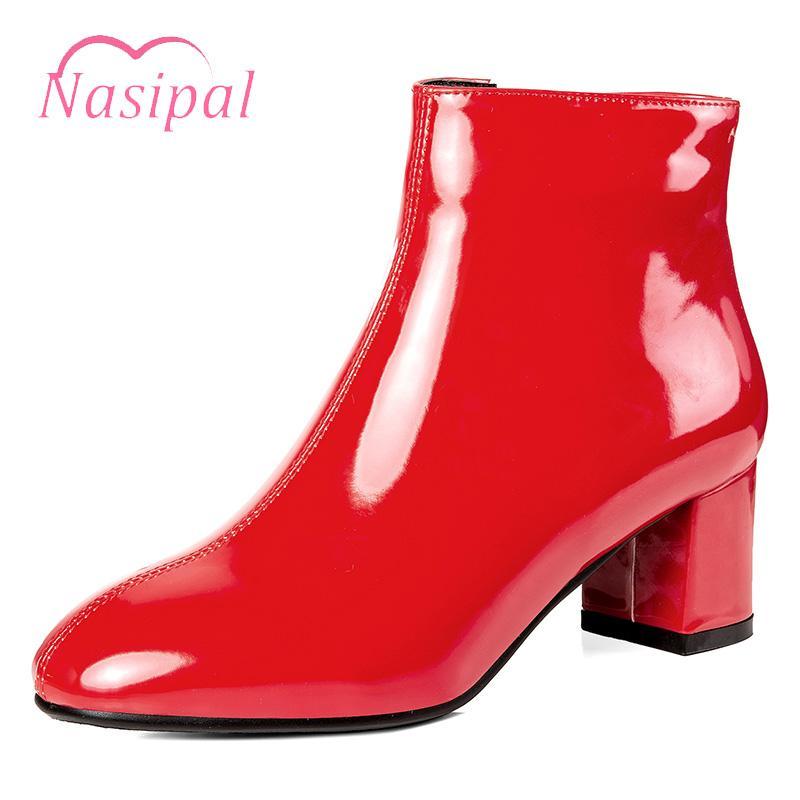 Vermelho de couro Nasipal Preto Botas For Women Thick Salto Alto outono Botas Plus Size Moda Feminina Bota