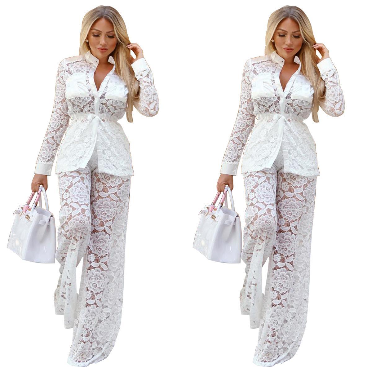 Solid White Women Lace Two Piece Set Long Sleeve Shirt Coat Top + Wide Leg Pants Elegant Female High Street Outfits 2pcs suit