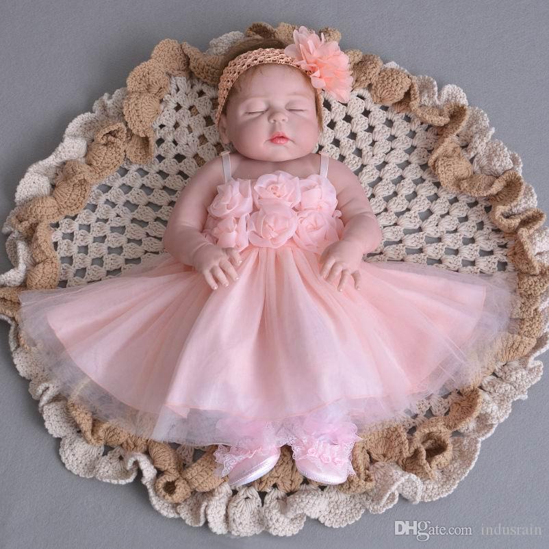 Détail bébé filles princesse robes mince robe de baptême rose avec bandeau fête d'anniversaire pour bébé baptême vêtements pour enfants