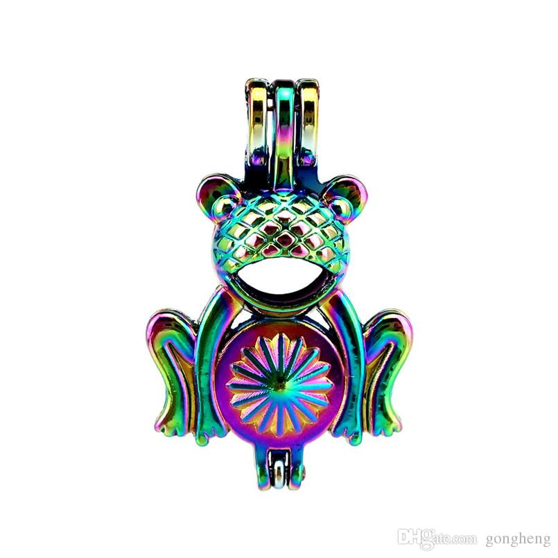 10pcs/lot Rainbow Color Cartoon Frog Beads Cage Locket Pendant Diffuser Aromatherapy Perfume Essential Oils Diffuser Floating Pom
