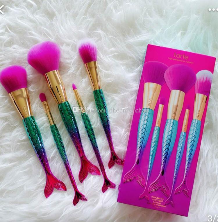 Marka Makyaj fırçalar setleri kozmetik fırça 5 adet kitleri parlak renkler Mermaid makyaj fırça araçları Pudra Kontur fırçalar DHL ücretsiz kargo Sıcak
