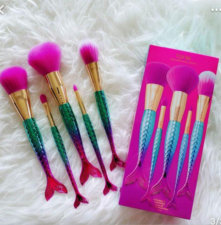 Marca Maquillaje cepillos conjuntos de cosméticos cepillo 5 unids kits colores brillantes Mermaid make up brush herramientas Powder Contour brushes DHL envío gratis Hot