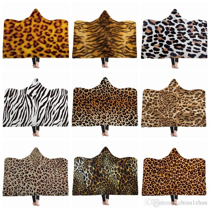 Leopard Hooded Blanket Tiger Pattern Fleece Blankets Kids Throw Blanket Winter Sofa Bedding Supplies Christmas Gift 12 Designs 30pcs YW1719