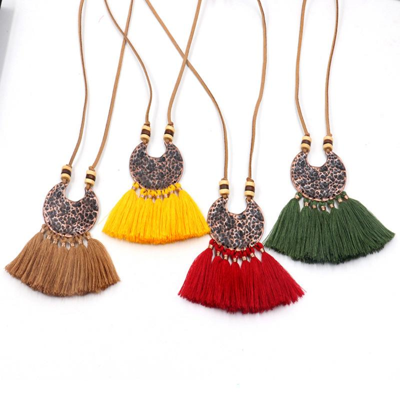 12 Styles Bohemian Ethnic Tassel Pendant Necklace For Women Sweater Chain Leather Rope Chain Choker Clothing Jewelry Accessories Gift H781F