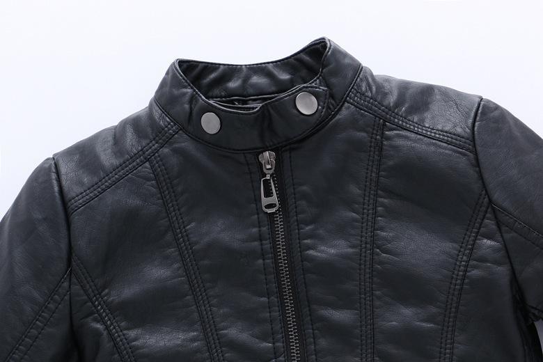 GCWHFL Hohe Qualität Jacken Jungen Herbst Winter Mädchen PU Lederjacken Kinder 4-16Y Kleidung Kinder Warme Dicke Mantel Oberbekleidung