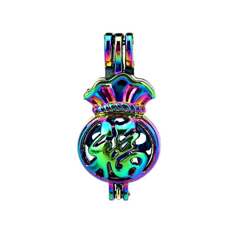 10 pçs / lote Cor Do Arco Íris Lucky Purse Beads Medalhão Pingente Difusor Difusor de Aromaterapia Óleos Essenciais Difusor Flutuante Pom