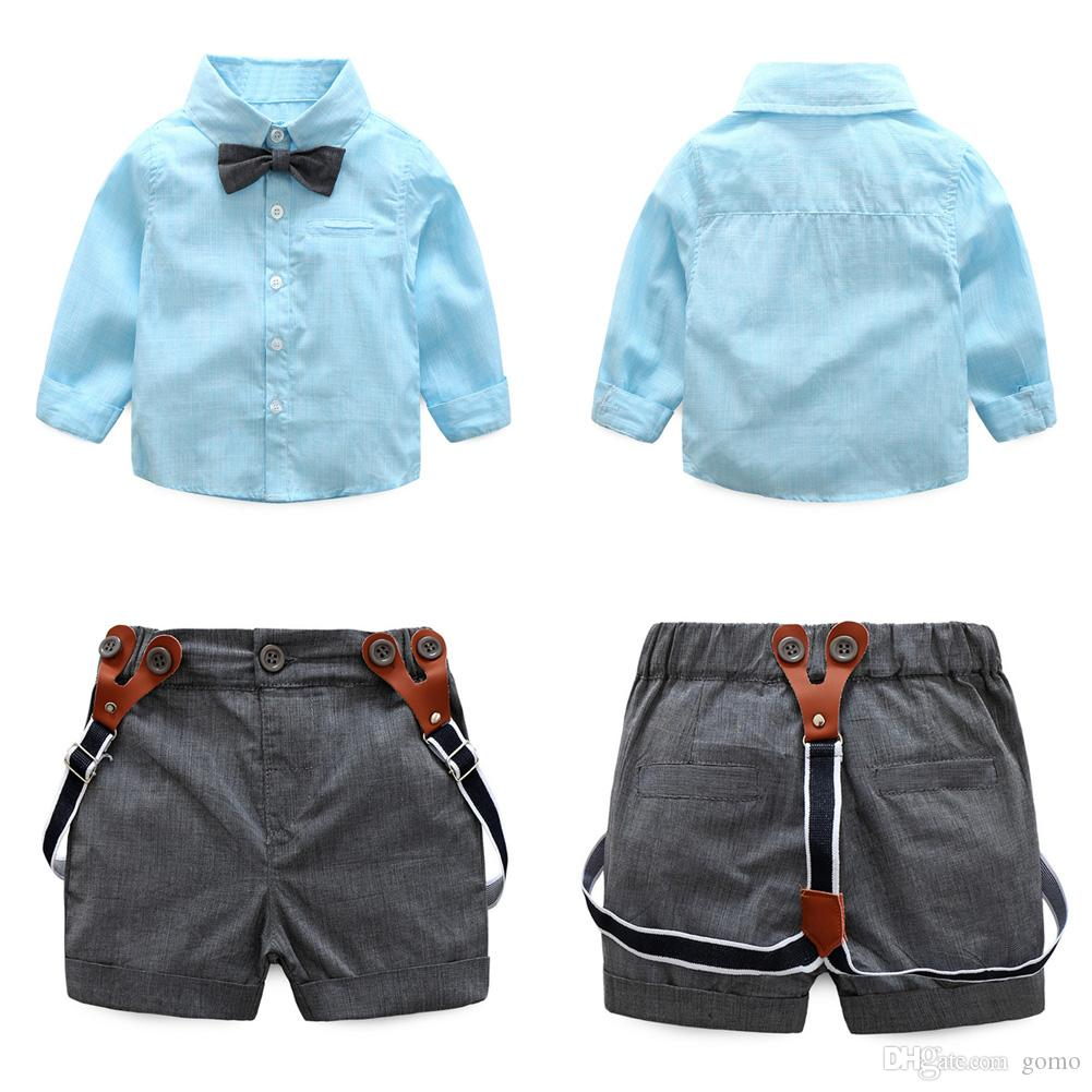 2pcs Baby Boys Set di abbigliamento Baby Long Sleeve Top + Pants Bambini Toddler Gentlemen Bowknot Shirt Suspender Pants Outfit