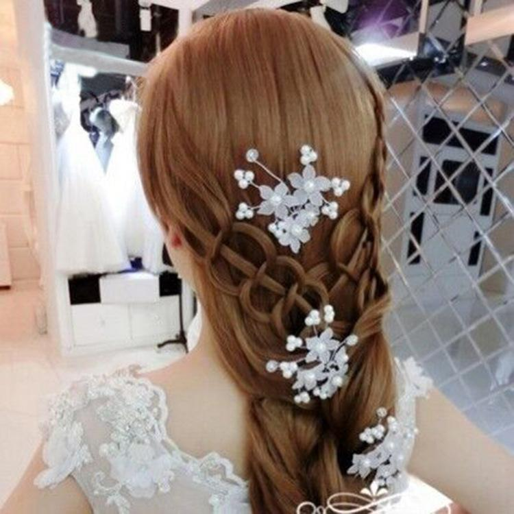 2-color European and American fashion bridal headdress red pearl flower hair style wedding dress jewelry hair accessories wholesale