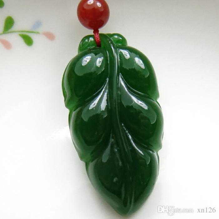 Xinjiang Hetian giada Jinzhi giada foglia ciondolo albero foglia pendente autentico spinaci verde