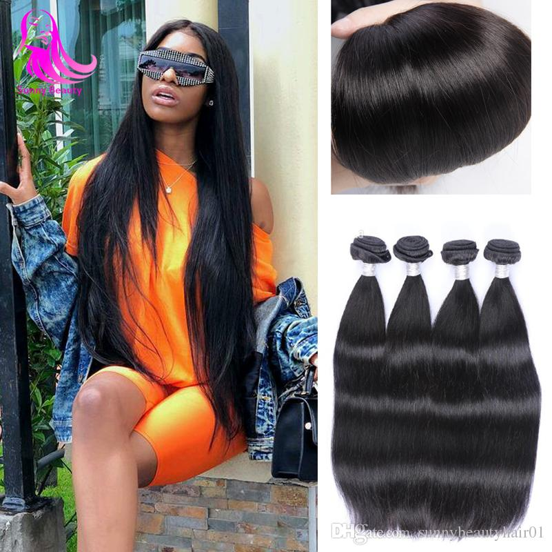 Indian Straight Human Virgin Remy Hair Weaves Double Wefts Raw India Hair Can Be dyed 3pcs/lot Hairs Extensions Dyeable 4 Pack No Shedding