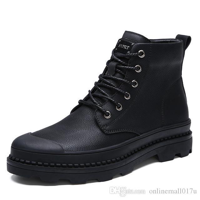 Stivaletti da uomo casual da lavoro Scarpe da lavoro Stivale in pelle da uomo Abito da uomo Army hombre Winter botas militares