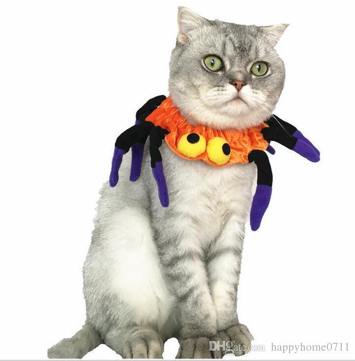 최신 할로윈 애완 동물 강아지와 고양이 드레스 스파이더 맨 칼라 애완 동물 거미 모양 탄성 턱받이 코스프레 파티 장식 용품