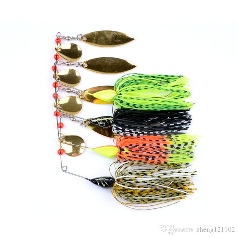 4pcs 21.7g Spinnerbait Black Large Mouth Bass Fish Metal Bait Sequin Beard Pike Fishing Tackle Rubber Jig Soft Fishing Lure