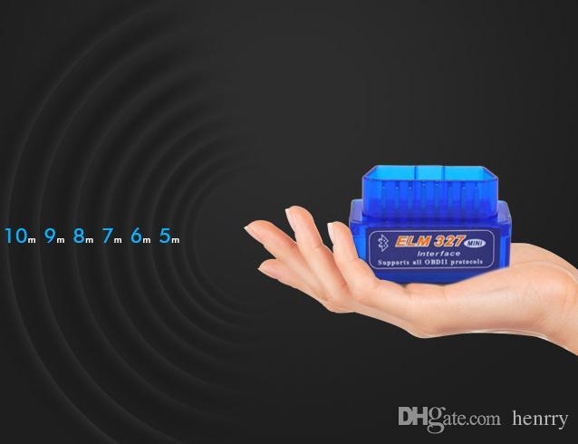 100pcs / lot Super Mini ELM327 Bluetooth ELM 327 BT Super Mini ELM327 Bluetooth OBDII Escáner de diagnóstico Versión2.1
