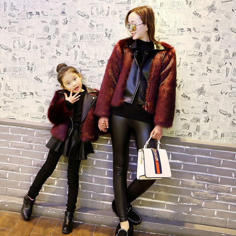 Sunshine Yağmurlu Kış Ceketler Kız Faux Kürk Ceket Kız PU Deri Faux Kürk Ceket Sahte Iki Adet Sıcak Kürk Çocuk Kabanlar