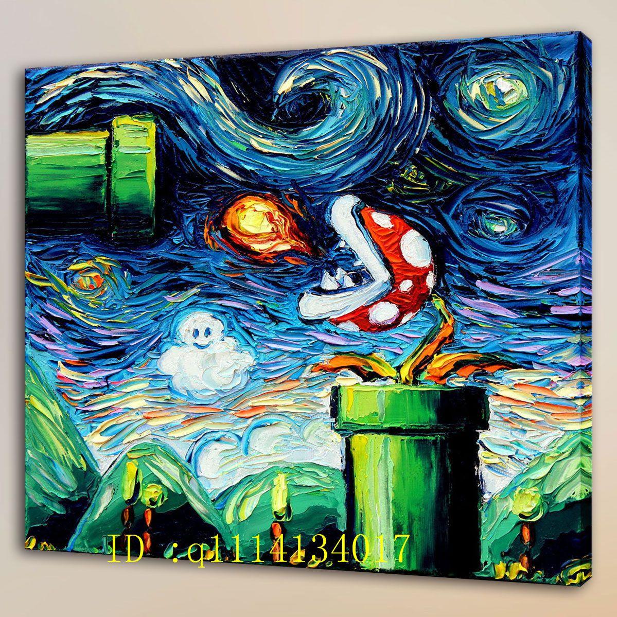 HD Print Van Gogh Mario Art Home Wall Decor Oil Painting on Canvas Unframed